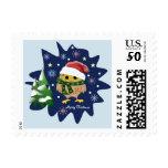 Christmas owl, trees, snowflakes and custom text postage