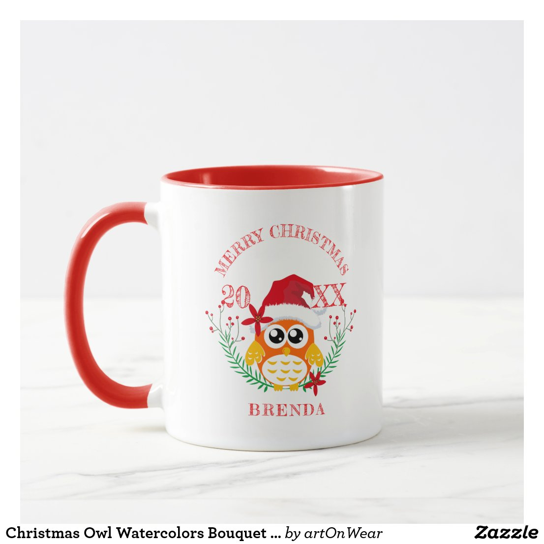 Christmas Owl Watercolors Bouquet Christmas Text