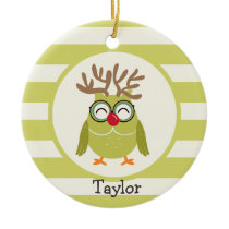 Christmas Owl with Light Green Retro Stripes Ceramic Ornament