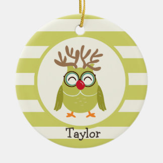 Christmas Owl with Light Green Retro Stripes Ceramic Ornament