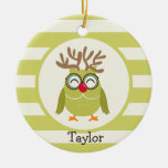 Christmas Owl with Light Green Retro Stripes Double-Sided Ceramic Round Christmas Ornament