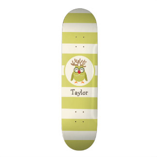 Christmas Owl with Light Green Retro Stripes Skate Decks