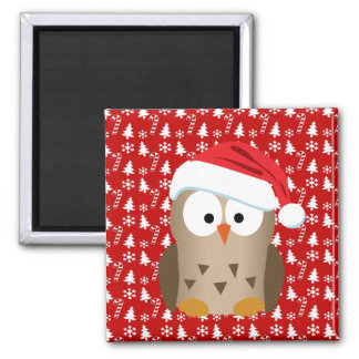 Christmas Owl with Santa Hat 2 Inch Square Magnet