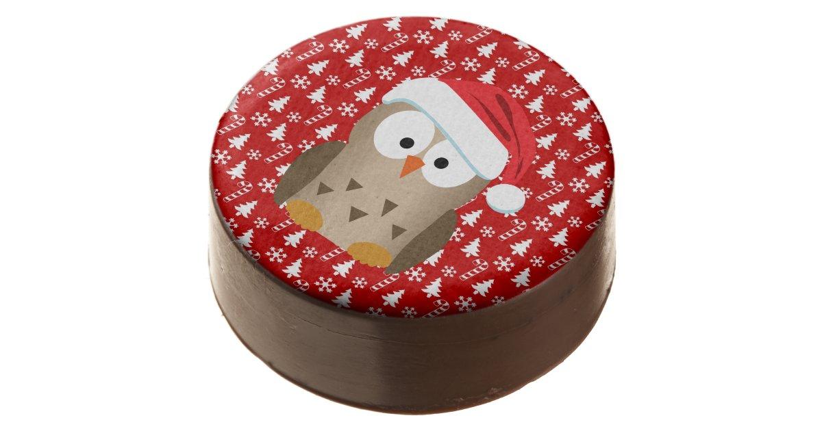 Christmas Owl.Christmas Owl With Santa Hat Chocolate Dipped Oreo Zazzle Com