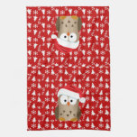 Christmas Owl with Santa Hat Hand Towels