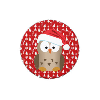 Christmas Owl with Santa Hat Jelly Belly Tin