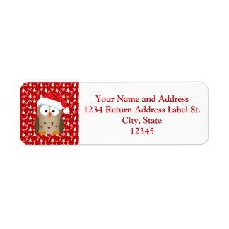 Christmas Owl with Santa Hat Return Address Label