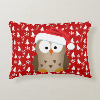 Christmas Owl with Santa Hat Accent Pillow