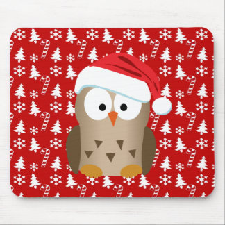 Christmas Owl with Santa Hat Mouse Pad