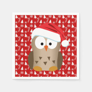 Christmas Owl with Santa Hat Paper Napkin