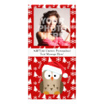 Christmas Owl with Santa Hat Picture Card