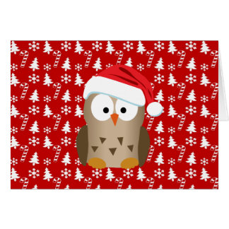Christmas Owl with Santa Hat Stationery Note Card