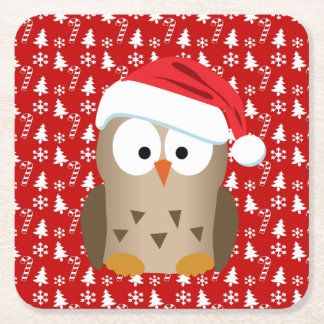 Christmas Owl with Santa Hat Square Paper Coaster