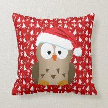 Christmas Owl with Santa Hat Throw Pillow