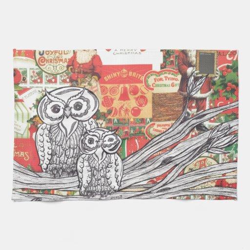 Christmas Owls 2 Kitchen Towel