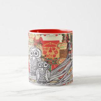 Christmas Owls 2 Two-Tone Coffee Mug