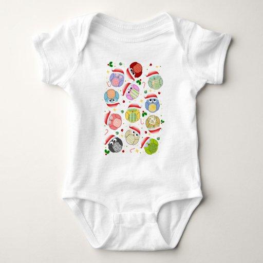 Christmas Owls Design Baby Bodysuit