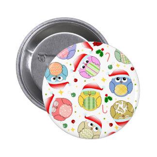 Christmas Owls Design Button