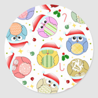 Christmas Owls Design Classic Round Sticker