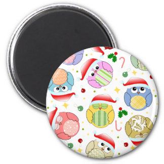 Christmas Owls Design Fridge Magnet