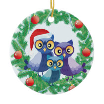 Christmas owls family ceramic ornament