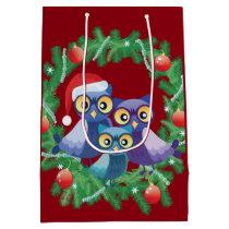 Christmas owls family medium gift bag