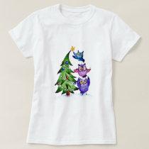 Christmas owls holiday tree T-Shirt