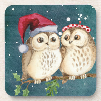 Christmas Owls on Branch at Night Beverage Coaster