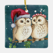 Christmas Owls on Branch at Night Ceramic Ornament