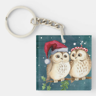 Christmas Owls on Branch at Night Keychain
