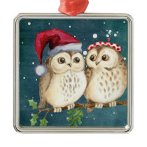 Christmas Owls on Branch at Night Metal Ornament