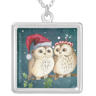 Christmas Owls on Branch at Night Silver Plated Necklace
