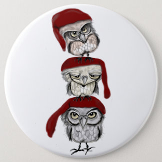 Christmas Owls Pinback Button