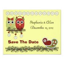 Christmas Owls Save The Date Card