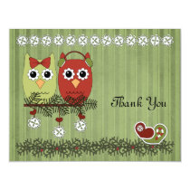 Christmas Owls Thank You Card