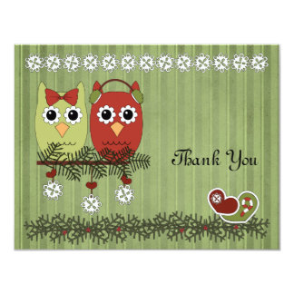 Christmas Owls Thank You Card
