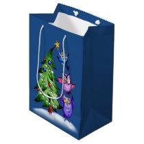 Christmas owls tree decoration blue medium gift bag