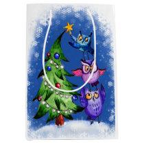 Christmas owls tree decoration medium gift bag