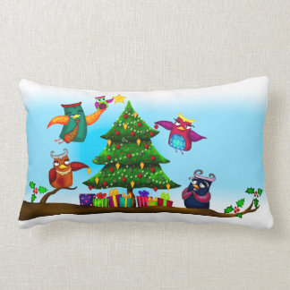 Christmas Owl's Tree Throw Pillows