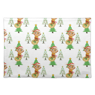 Christmas Owls & Trees Cloth Placemat