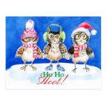Christmas owls watercolor art postcard