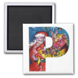 CHRISTMAS P LETTER  / SANTA  WITH GIFTS MONOGRAM 2 INCH SQUARE MAGNET