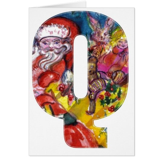 CHRISTMAS P LETTER  / SANTA  WITH GIFTS MONOGRAM CARD