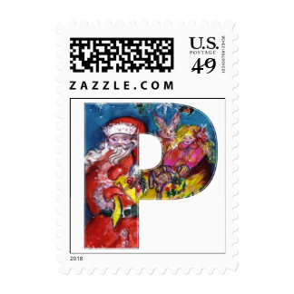 CHRISTMAS P LETTER  / SANTA  WITH GIFTS MONOGRAM POSTAGE