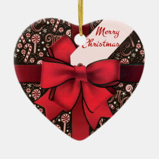 Christmas package ceramic ornament