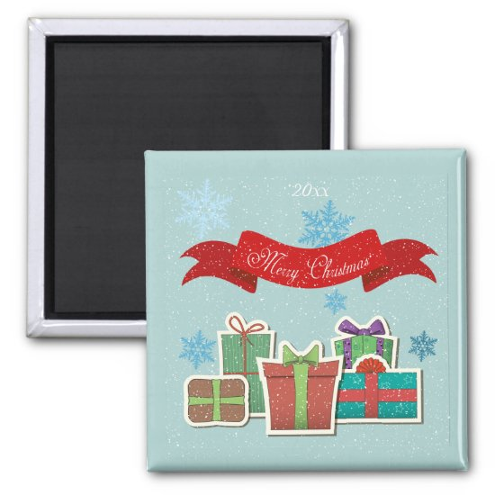 Christmas Packages with Merry Christmas Magnet