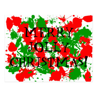 Christmas Paint Splatter Postcards