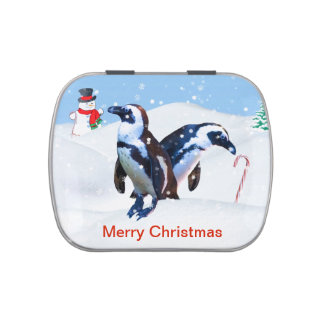 Christmas, Pair of Penguins, Customizable Text Jelly Belly Candy Tin