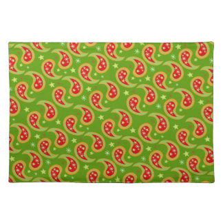 Christmas paisley green red stars canvas placemat