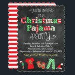"Christmas Pajama Party Chalkboard Invitation<br><div class=""desc"">This fun and festive Christmas Pajama Party chalkboard style invitation is perfect for any Christmas pajama theme event! This design features a chalkboard style background,  bright Christmas color pattern letters,  and fun Christmas graphics and illustrations along the bottom including Christmas pajamas,  reindeer slippers,  candy cane and Santa hat!</div>"